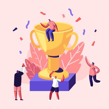 Des gens joyeux célébrant la victoire en riant avec les mains autour d'une énorme coupe d'or avec un homme assis sur le dessus. Collègues joyeux, les employés se réjouissent du nouveau projet, du succès. Illustration vectorielle plane de dessin animé