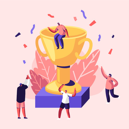 Cheerful People Celebrating Win Laughing with Hands Up around of Huge Gold Cup with Man Sitting on Top. Joyful Colleagues, Employees Rejoice for New Project, Success. Cartoon Flat Vector Illustration