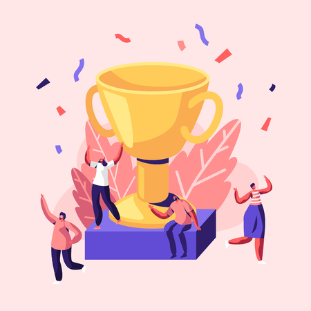 Happy Employees Laughing with Hands Up around of Huge Gold Cup with Confetti Flying around People Rejoice for New Project, Success, Win. Joyful Colleagues Celebrating. Cartoon Flat Vector Illustration  イラスト・ベクター素材