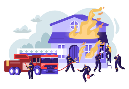 Group of Firemen Fighting with Blaze Working as Team to Fight with Big Fire at Burning House, Fire Fighter Truck. Male Characters in Uniform Spraying Water from Hose. Cartoon Flat Vector Illustration