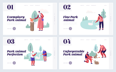 People Spending Time in Animal Park Website Landing Page Set. Leisure in Outdoors Zoo with Wild Animals, Feeding, Playing, Taking Pictures, Sparetime Web Page. Cartoon Flat Vector Illustration, Banner