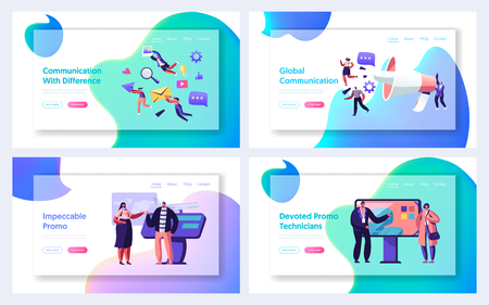 Communication, Pr Agency Marketing and Promotion Website Landing Page Set, Alert Advertising and Social Media Public Relations, Promotional Affairs, Web Page. Cartoon Flat Vector Illustration, Banner