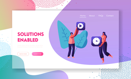 Female Characters Holding Mobile Application Icons of Video Recording and Watch in Hands. App Content Development, Technologies Website Landing Page, Web Page. Cartoon Flat Vector Illustration, Banner Иллюстрация
