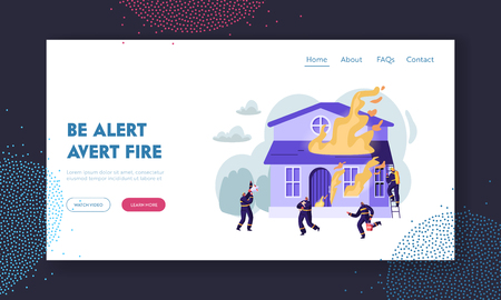 Group of Firemen Fighting with Blaze at Burning House. Team Extinguishing Big Fire, Crying to Megaphone, Carry Water Saving Dog Website Landing Page, Web Page. Cartoon Flat Vector Illustration, Banner