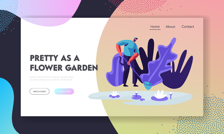 Gardener or Botanist Scientist Stand with Butterfly Net near Pond with Floating Lotus Flowers in Greenhouse with Rare Plants. Website Landing Page, Web Page. Cartoon Flat Vector Illustration, Banner
