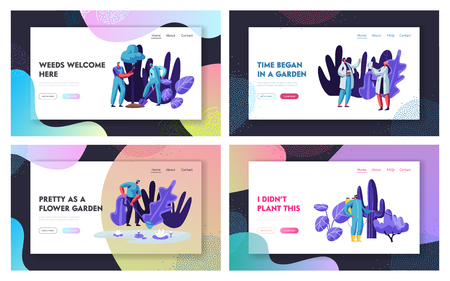 Gardeners and Scientists Growing and Caring of Plants Website Landing Page Set. . Gardening People Doing Seasonal Work in Greenhouse Planting Trees. Web Page, Cartoon Flat Vector Illustration, Banner