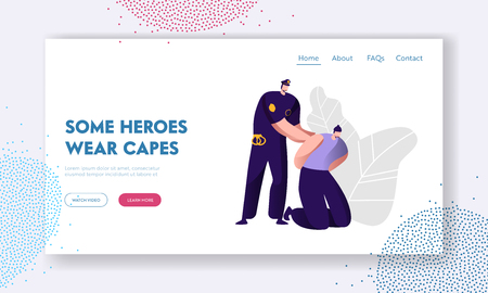 Policeman Arrests Thief. Cop in Uniform at Work, Law Protection Concept, Professional Safety Control, Police Department Service Website Landing Page, Web Page. Cartoon Flat Vector Illustration, Banner