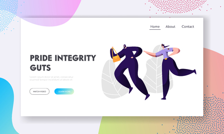 Police Woman Officer at Work Catching Up Thief Steal Bag to Arrest, Criminal and Punishment, Female Inspector Help to Victim Website Landing Page, Web Page. Cartoon Flat Vector Illustration, Banner