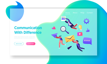 Communication Concept, People Holding in Hands Envelope, Paper Airplane, Photo. Social Media Networking, Internet Accounting Website Landing Page, Web Page. Cartoon Flat Vector Illustration, Banner Vettoriali