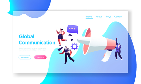 Global Communication Concept, Marketing Team with Huge Megaphone, Alert Advertising, Propaganda, Public Relations and Affairs Website Landing Page, Web Page. Cartoon Flat Vector Illustration, Banner  イラスト・ベクター素材