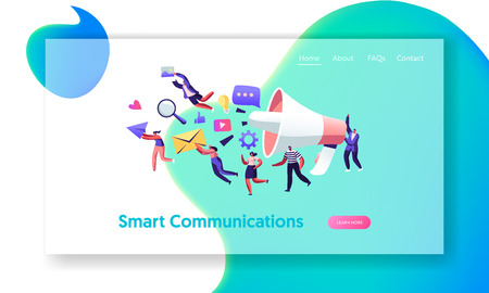 Communication, Pr Agency Marketing Team with Huge Megaphone, Alert Advertising and Social Media. Public Relations and Affairs, Website Landing Page, Web Page. Cartoon Flat Vector Illustration, Banner  イラスト・ベクター素材