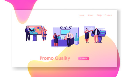 People Stand Beside Commercial Promotional Stands, Trying Product Samples, Talking to Consultants and Promoters at Trade Fair. Website Landing Page, Web Page. Cartoon Flat Vector Illustration, Banner 스톡 콘텐츠 - 128442243