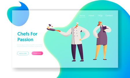 Restaurant Cafe Staff. Male and Female Characters in Uniform. Administrator Girl with Notebook, Chief in Toque with Frying Pan. Website Landing Page, Web Page. Cartoon Flat Vector Illustration, Banner