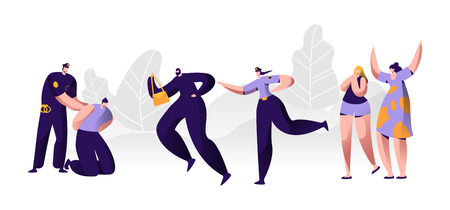 Police Officers at Work. Policeman Putting Handcuffs on Offender Hands, Woman Character Catching Up Thief to Arrest, Criminal Steal Bag from Victim , Witness Cry Help. Cartoon Flat Vector Illustration Illustration