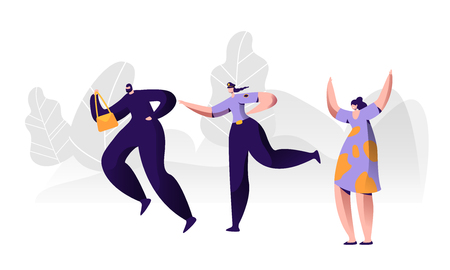 Female Police Officer at Work Catching Up Thief to Arrest Steal Bag from Victim Crying for Help. Policewoman on Duty, City Patrol Woman Constable Fight with Criminal. Cartoon Flat Vector Illustration Illustration
