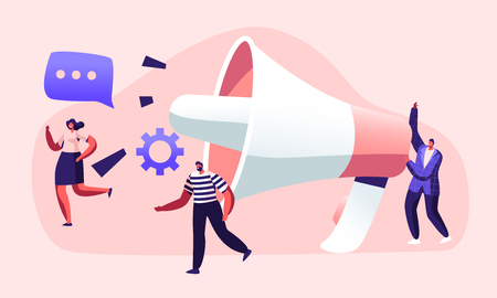Public Relations and Affairs, Communication, Pr Agency Marketing Team Work with Huge Megaphone, Alert Advertising, Propaganda, Speech Bubbles, Social Media Promotion. Cartoon Flat Vector Illustration Vettoriali