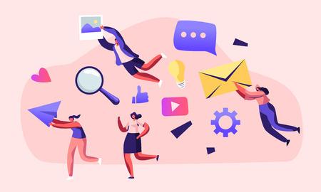 Kommunikation, Leute, die in der Hand halten Umschlag, Papierflugzeug, Foto. Social Media Networking, Internet-Buchhaltung, digitale Technologie im menschlichen Leben, PR-Karikatur-flache Vektor-Illustration