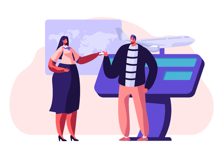 Man Buying Airplane Ticket at Travel Agency Promotional Stand, Talking to Woman Consultant or Promoter, Advertising Service, Trade Fair, Expo Exhibition Visiting. Cartoon Flat Vector Illustration Stock Illustratie