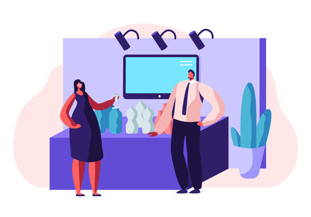 Man Trying Drinking Product Samples, Talking to Consultant or Promoter Beside Commercial Promotional Stand at Trade Fair or Expo Exhibition Promo Kiosk, Advertising. Cartoon Flat Vector Illustration