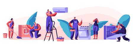 Mari pendant une heure, service de réparation Personnages masculins joyeux en uniforme travaillant avec des instruments réparant des techniques cassées à la maison. électricien, plombier, appel, maître, à, travail, dessin animé, plat, vecteur, illustration