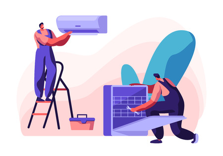 Handy Men Fixing Broken Conditioner and Dishwasher at Home, Husband for an Hour, Repair Service Fixing Broken Technics. Electrician, Plumber Call Master at Work. Cartoon Flat Vector Illustration