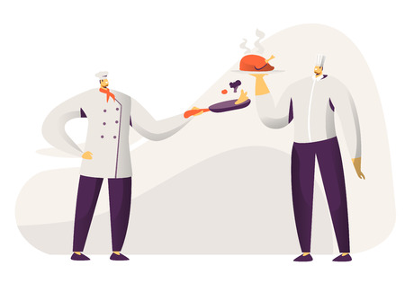 Young Men Chef and Sous Chef in Toque and Apron Holding in Hands Tray with Chicken and Pan with Vegetables. Restaurant Staff Demonstrating Menu, Serve Guests in Cafe. Cartoon Flat Vector Illustration 일러스트