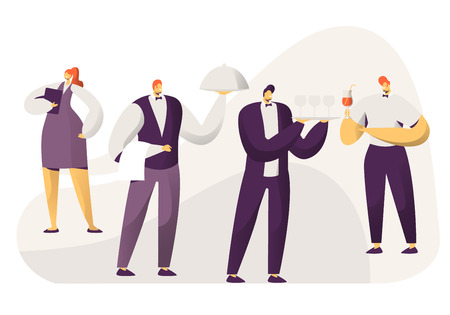 Hospitality, Restaurant Staff Characters in Uniform. Administrator Woman with Notebook, Barman with Drinks, Men Waiters Holding Tray with Dish Under Silver Cloche Lid Cartoon Flat Vector Illustration