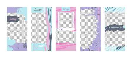 Set of Promotion Templates for Social Media Stories. Colorful Abstract Grungy Style Promo Backgrounds for Summer Promotion Ad Newsletter Layouts. Summer Vacation Travel Banners, Vector Illustration