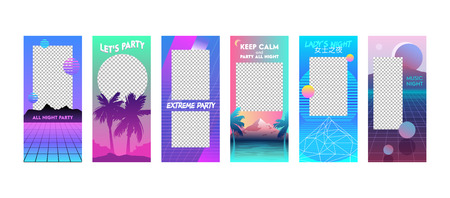 Summer Vacation Editable Templates Set in Vaporwave Style. Modern Unique Cyberpank Design Backgrounds for Social Media Stories Banners and Digital Marketing Advertising Promotion, Vector Illustration. Иллюстрация