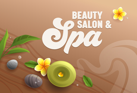 Beauty Salon Banner, Top View of Spa Attributes as Aroma Candle, Massage Stones, Eucalyptus Leaves and Frangipani Plumeria Flowers on Wooden Table Surface Background, Ad Poster Vector Illustration