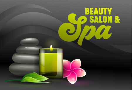 Beauty Salon Ad Banner, Front View of Spa Attributes as Aroma Candle, Massage Stones, Eucalyptus Leaves and Frangipani Plumeria Flowers on Black Background, Advertising Poster Vector Illustration Ilustração