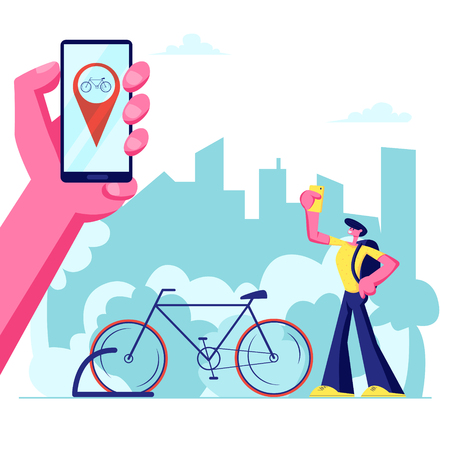 Man Using Smartphone Application of Bike Rent Service Searching in Big City. Hand Holding Phone with Bicycle Geolocation Gps Mark. Traveling, Sports Life, Spare Time Cartoon Flat Vector Illustration Çizim