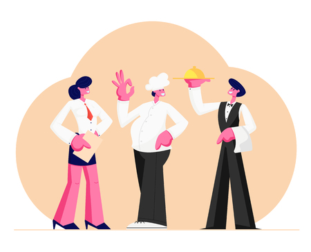 Restaurant Stuff. Administrator Girl with Notebook, Chief in Toque, Man Waiter Holding Tray with Dish Under Silver Cloche Lid, Male and Female Characters in Uniform. Cartoon Flat Vector Illustration Ilustração
