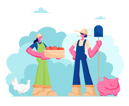 Couple of Girls Farmers in Working Overalls with Shovel and Box of Ripe Healthy Fruits or Vegetables, Animal Husbandry, Farms Natural Products, Organic Food Gardening, Cartoon Flat Vector Illustration