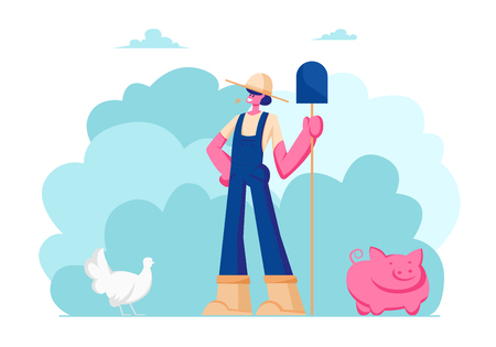 Farm Girl in Working Uniform and Hat Holding Shovel in Hand. Animal Husbandry, Poultry Farming, Natural Eco Production, Organic Food Gardening, Countryside Agriculture Cartoon Flat Vector Illustration