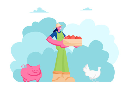 Girl Farmer or Gardener in Working Overall with Box of Ripe Healthy Fruits or Vegetables, Animal Husbandry, Pig, Chicken, Farm Natural Product, Organic Food Gardening Cartoon Flat Vector Illustration