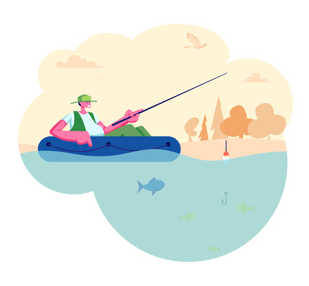 Man Fishing in Boat on Calm Lake or River at Summer Day. Relaxing Summertime Hobby, Fishman Sitting with Rod Having Good Catch. Vacation Spending Time, Leisure, Relax Cartoon Flat Vector Illustration