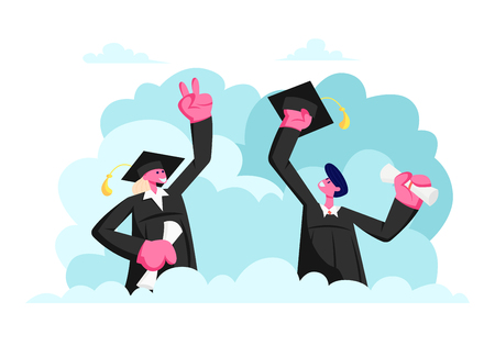 Group of Male and Female Characters in Graduation Gowns and Caps Rejoice, Jumping and Cheering Up Happy to Get Diploma Certificate and Finish University Education. Cartoon Flat Vector Illustration  イラスト・ベクター素材