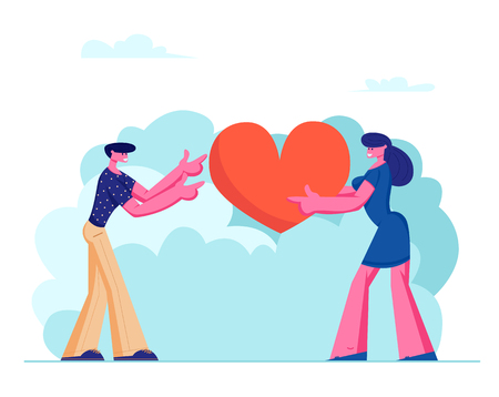Loving Couple Share Huge Red Heart to Each Other. Human Relations, Love, Romantic Dating. Male and Female Character Spending Time Together Outdoors, Newlywed Couple Cartoon Flat Vector Illustration