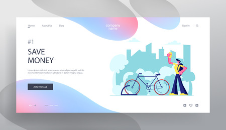 Man Using Smartphone App for Bike Rent Service Searching in Big City. Traveling Tourist, Citizen Sports Life, Eco Transport Website Landing Page, Web Page. Cartoon Flat Vector Illustration, Banner