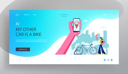 Man Using Smartphone Application for Bike Rent Service. Hand Holding Smartphone with Bicycle Gps Geolocation. Traveling, Sport Website Landing Page, Web Page. Cartoon Flat Vector Illustration, Banner Çizim