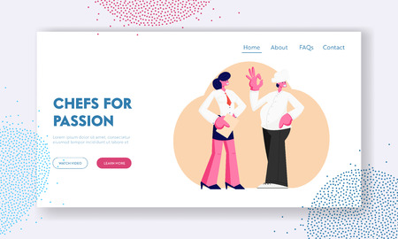 Restaurant Stuff. Administrator Girl with Notebook, Chief in Toque, Male and Female Characters in Uniform Waiting Clients, Cafe Website Landing Page, Web Page. Cartoon Flat Vector Illustration, Banner
