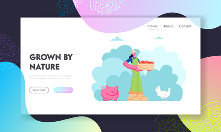 Girl Farmer or Gardener with Box of Fruits or Vegetables, Animal Husbandry, Pig, Chicken, Farm Natural Product, Organic Food Website Landing Page, Web Page. Cartoon Flat Vector Illustration, Banner