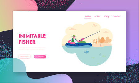 Man Fishing in Boat on Calm Lake or River at Summer Day. Relaxing Hobby, Fisherman Sitting with Rod Having Good Catch, Leisure Website Landing Page, Web Page. Cartoon Flat Vector Illustration, Banner