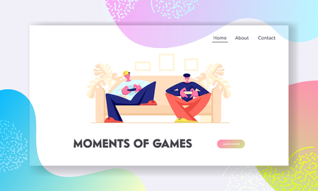 Teenagers Sitting on Sofa Playing Computer Games in  Gaming Console. Leisure, Addiction, Spare Time, Virtual Reality Website Landing Page, Web Page. Cartoon Flat Vector Illustration, Banner Illustration
