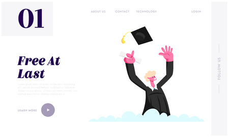 Male Character in Graduation Gown Throw Academic Cap, Cheering Up to Get Diploma Certificate and Finish University Education Website Landing Page, Web Page. Cartoon Flat Vector Illustration, Banner