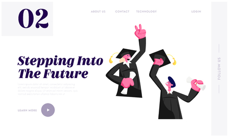 Cheerful Young Man and Woman Dressed in Mantle and Academical Cap Holding Diploma Celebrating Graduation, Specialist Graduating Website Landing Page, Web Page. Cartoon Flat Vector Illustration, Banner