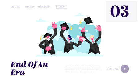 Alumnus Graduating University or College. Cheerful People In Academical Cap and Gown with Diploma Certificate in Hands Graduate Website Landing Page, Web Page. Cartoon Flat Vector Illustration, Banner