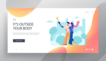Disabled Man and Woman with Leg and Arm Prosthesis Making Selfie on Cityscape Background, Motivation and Bodypositive Concept Website Landing Page, Web Page. Cartoon Flat Vector Illustration, Banner Illustration