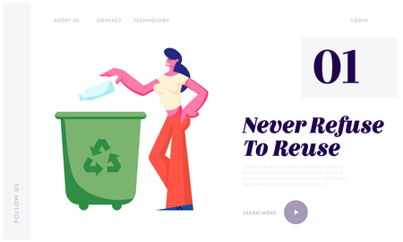 Female Character Throwing Trash into Litter Bin Container with Recycling Sign. Ecology Protection, Earth Pollution Problem, Website Landing Page, Web Page Cartoon Flat Vector Illustration, Banner